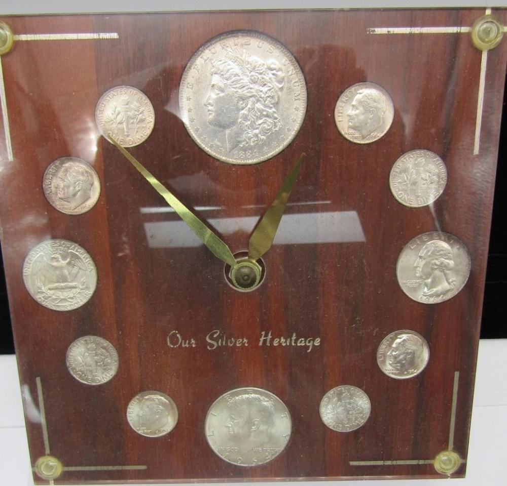 SILVER COINAGE CLOCK w/1884-O