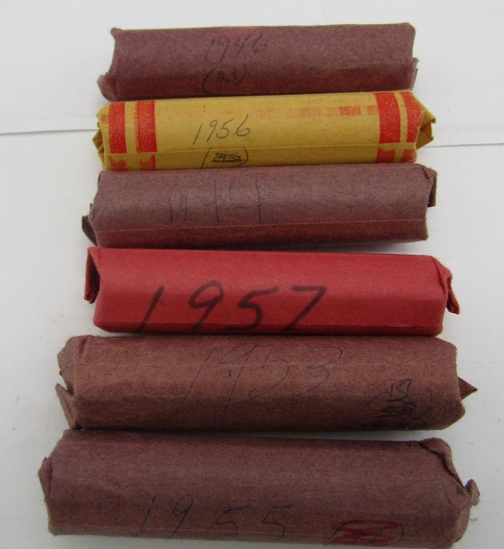 6-WHEAT CENT ROLLS; 1944, 1946,