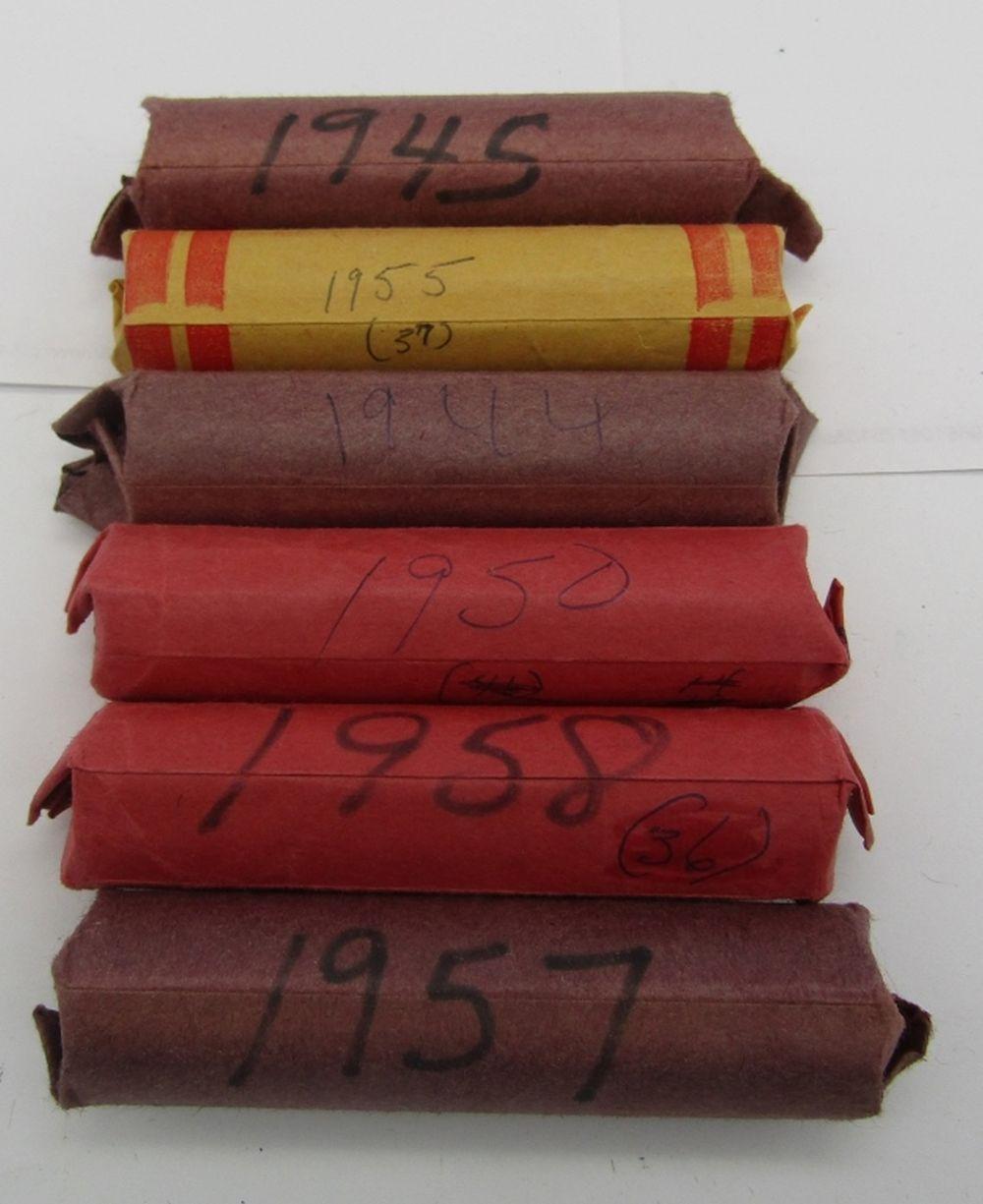 6-WHEAT CENT ROLLS; 1944,1945,