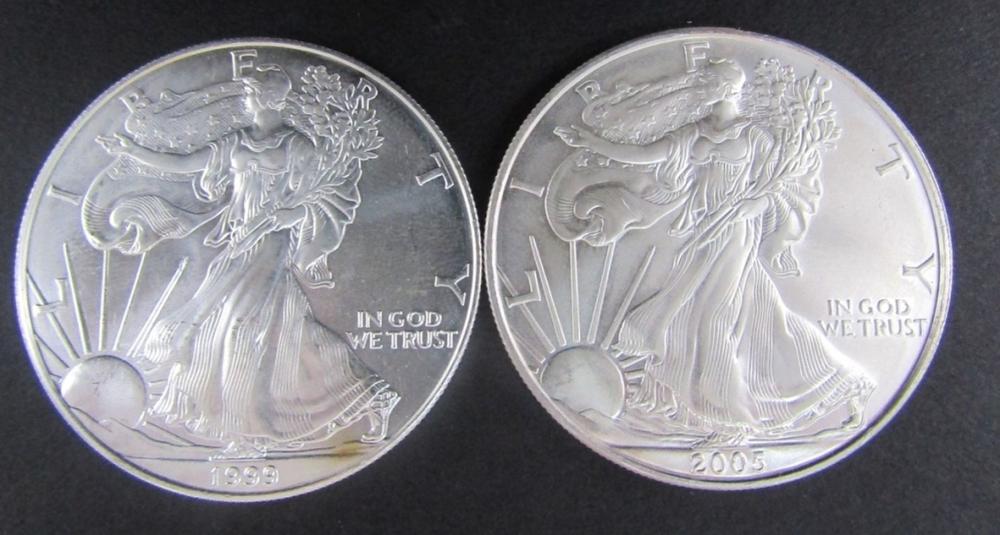 1999 & 2005 AMERICAN SILVER EAGLES