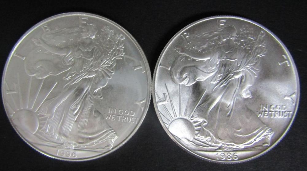 1986 & 1996 AMERICAN SILVER EAGLES