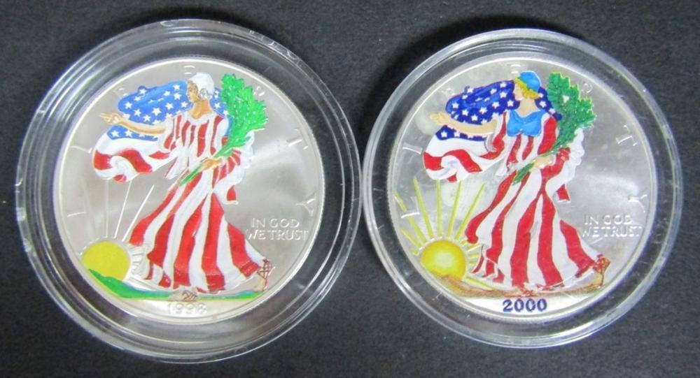 1998 & 2000 COLORIZED AM SILVER EAGLES
