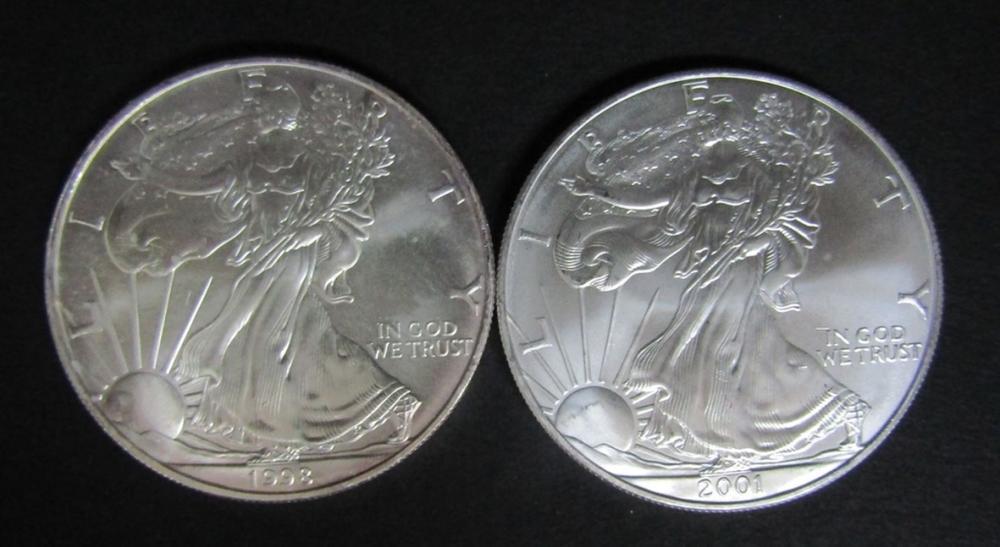 1998 & 2001 AMERICAN SILVER EAGLES