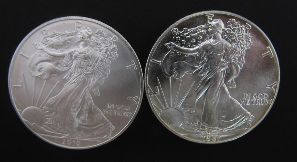1987 & 2010 AMERICAN SILVER EAGLES
