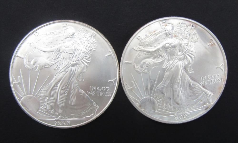 1993 & 2003 AMERICAN SILVER EAGLES