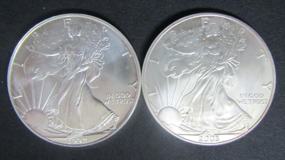 1992 & 2003 AMERICAN SILVER EAGLES