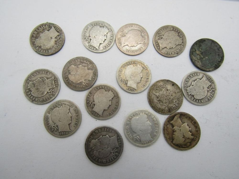 BARBER DIME LOT of 15 COINS