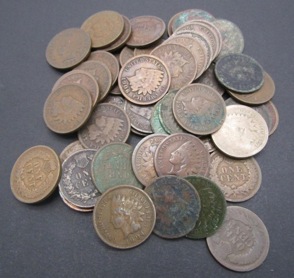 LOT OF 50 INDIAN HEAD PENNIES