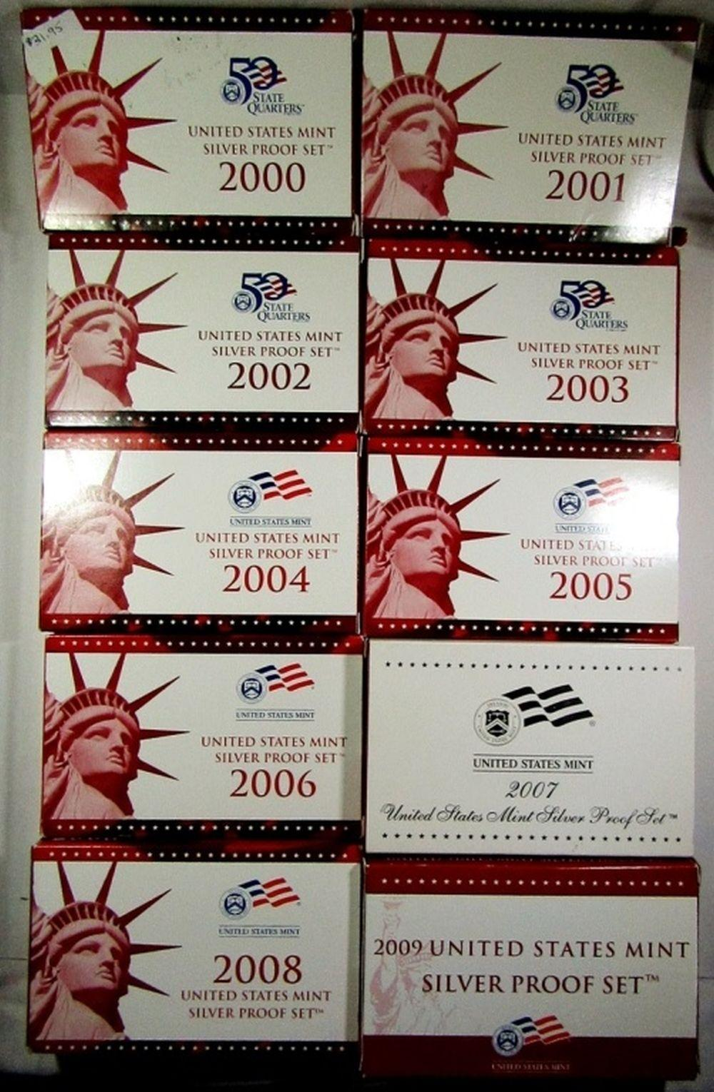 10 US SILVER PROOF SETS 2000-'09