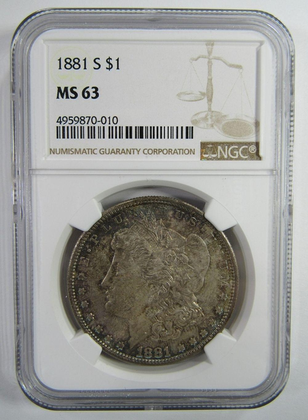 1881-S Morgan Silver Dollar $ NGC MS 63 Nicely Ton