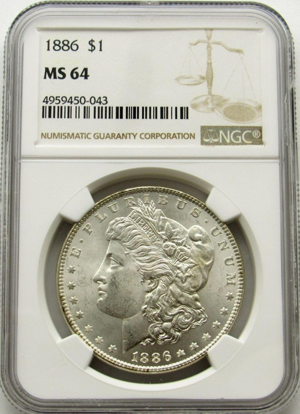 1886-P Morgan Silver Dollar $ NGC MS 64 Blast Whit