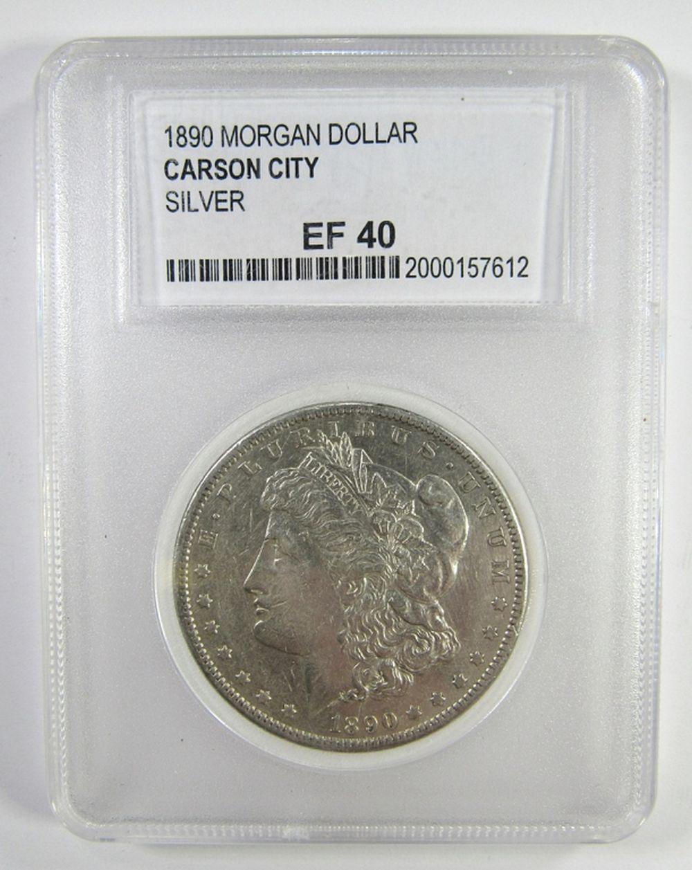 1890 CC MORGAN SILVER DOLLAR PCC EF40 CARSON CITY