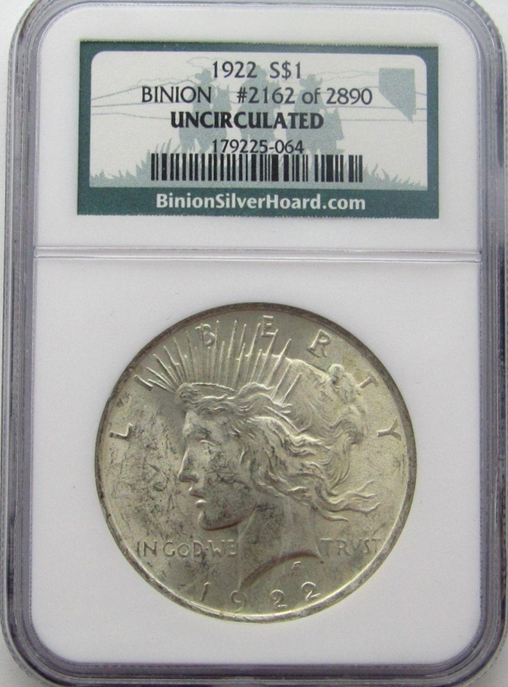 1922-P Peace Silver Dollar Binion #2162 of 2890 NG