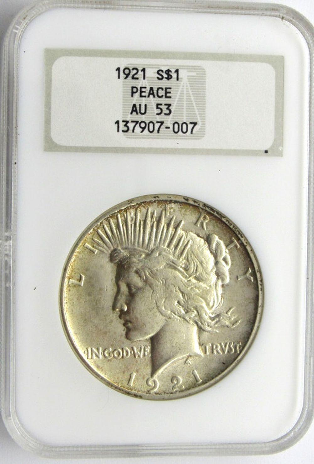 1921-P PEACE $ NGC AU 53