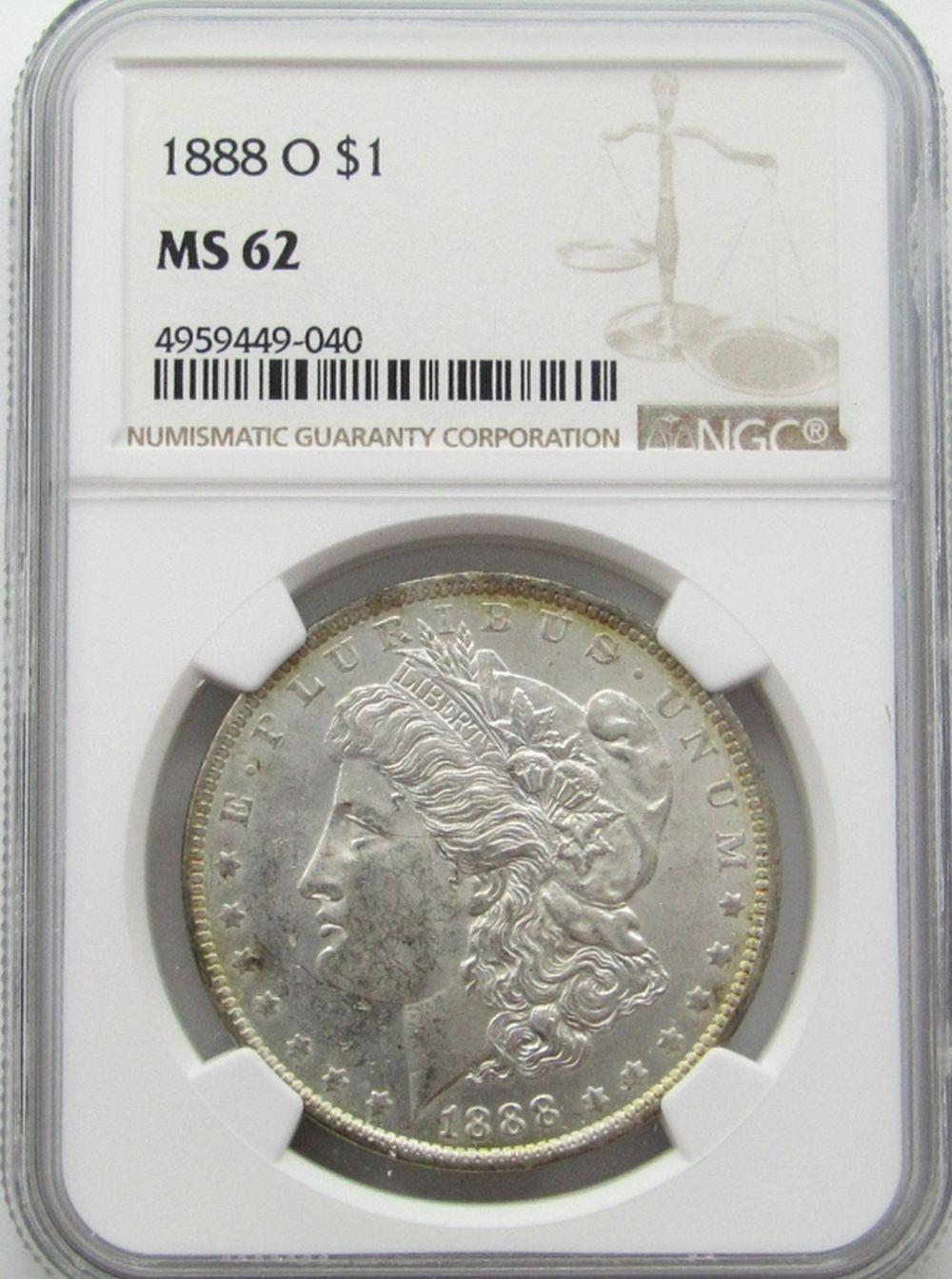 1888-O Morgan Silver Dollar $ NGC MS 62 Lightly To
