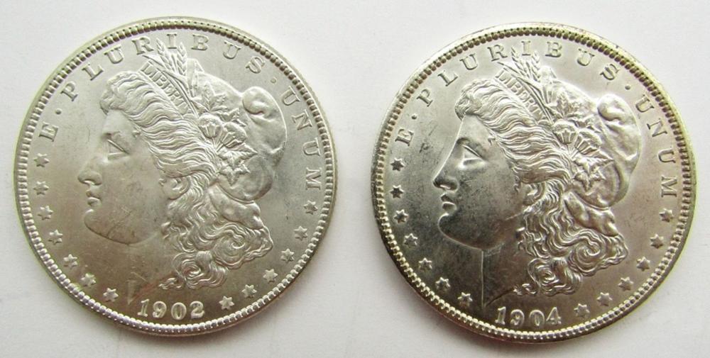2-BU MORGAN DOLLARS 1902-O & 1904-O