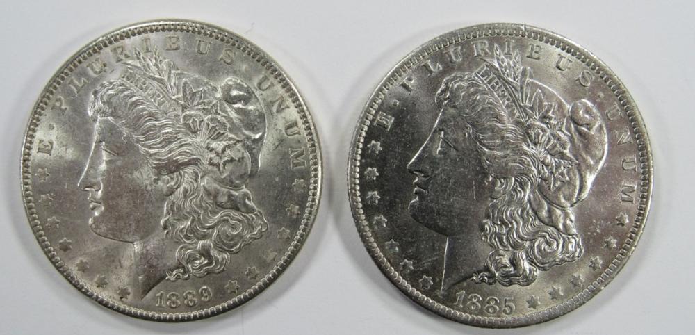 1889 & 1885-O MORGAN SILVER DOLLARS