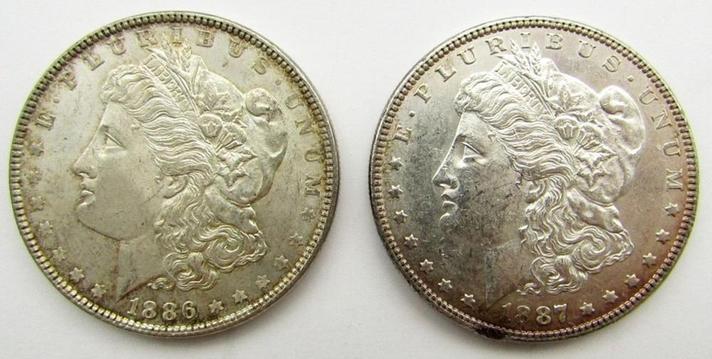 1886 & 1887 MORGAN DOLLARS BU/UNC