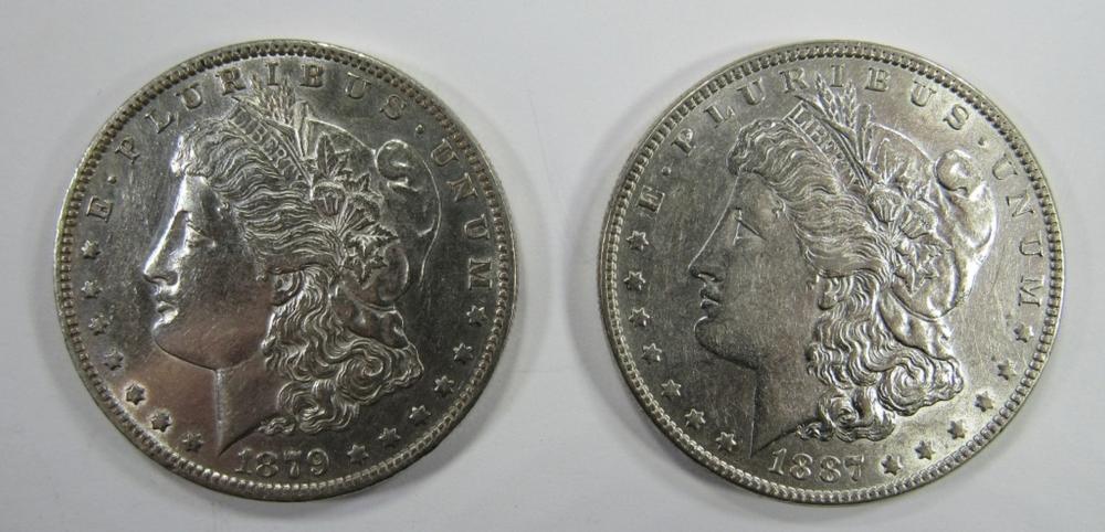 1887 & 1879-O MORGAN SILVER DOLLARS