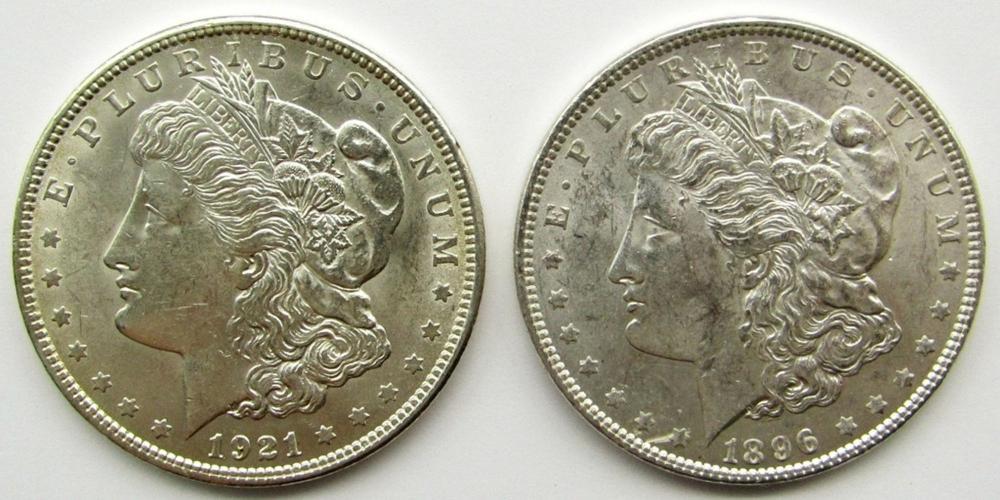 1896 & 1921 MORGAN SILVER DOLLARS AU/BU