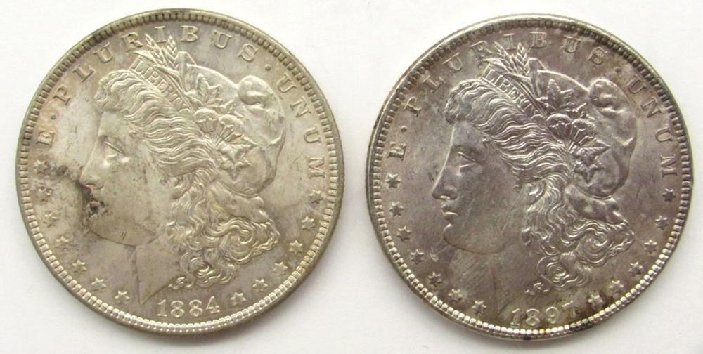 1884 & 1897 MORGAN SILVER DOLLARS BU