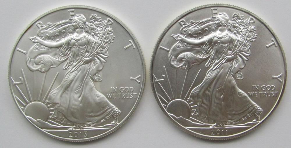 2011 & 2013 AMERICAN SILVER EAGLES