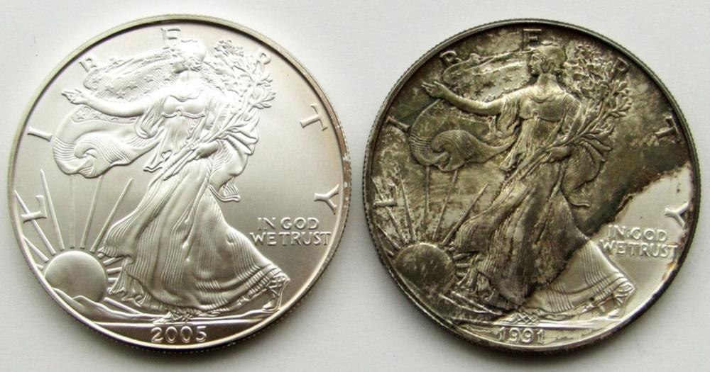 1991 & 2005 .999 SILVER EAGLES U.S. $1 COINS