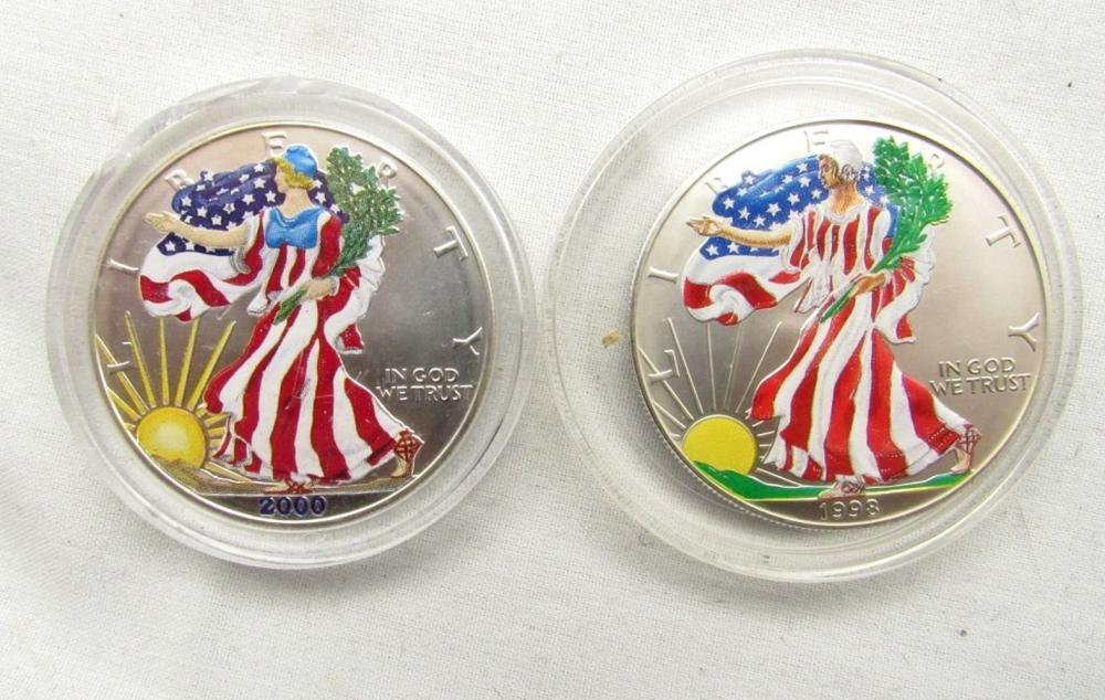 1998 & 2000 COLORIZED AMERICAN SILVER EAGLES