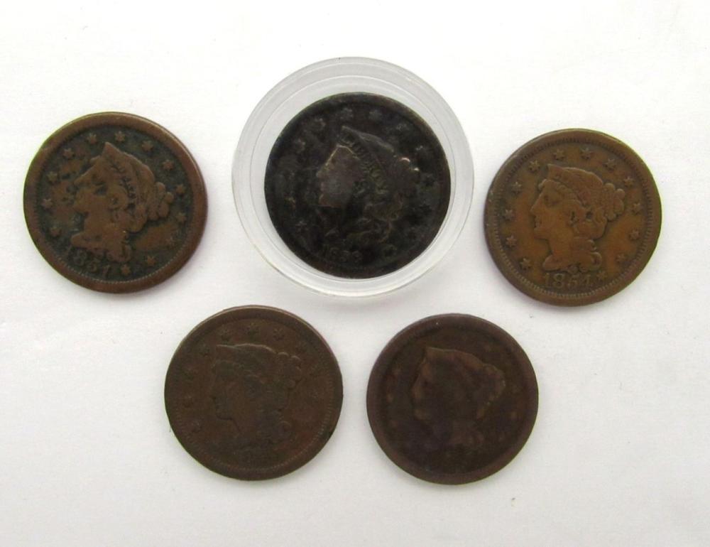 5- LARGE CENTS- 1838, 1848, 1848, 1851, 1854
