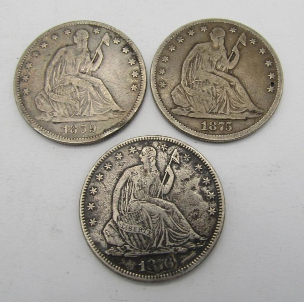 3-SEATED HALF DOLLARS 1859, 1875,