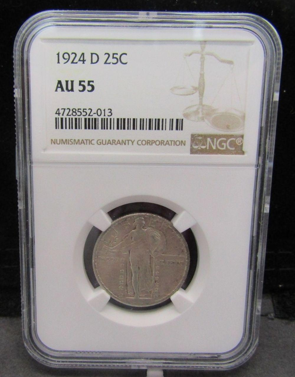 1924-D STANDING LIBERTY QTR NGC AU