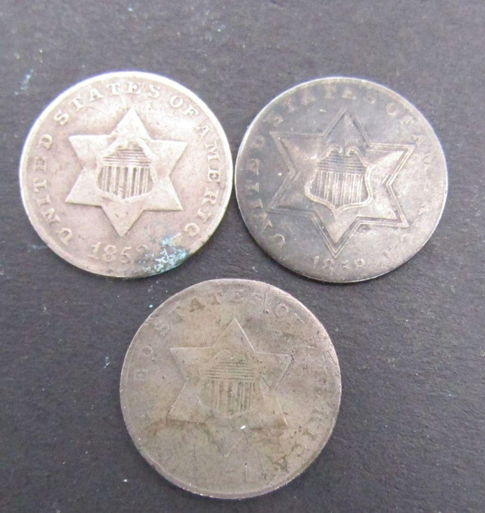 1851, 1852, 1858 THREE CENT SILVERS