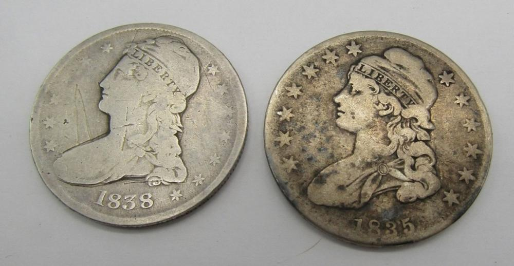 1835 & 1838 CAPPED BUST HALVES