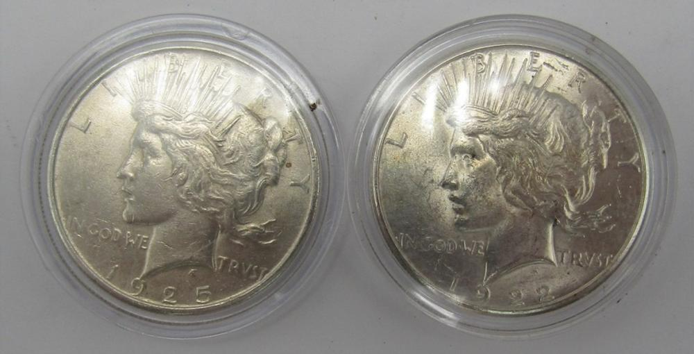1925 & 1922 S PEACE DOLLARS