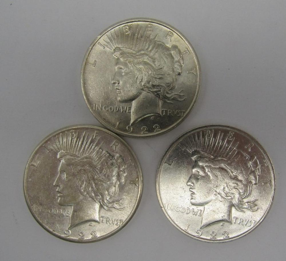 1922 PDS PEACE DOLLARS - CIRCS