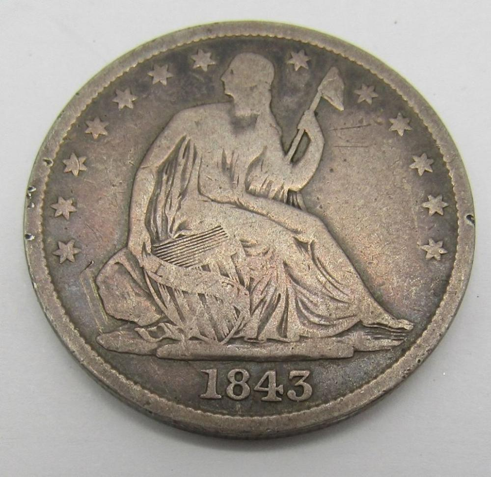 1843 SEATED HALF DOLLAR VG