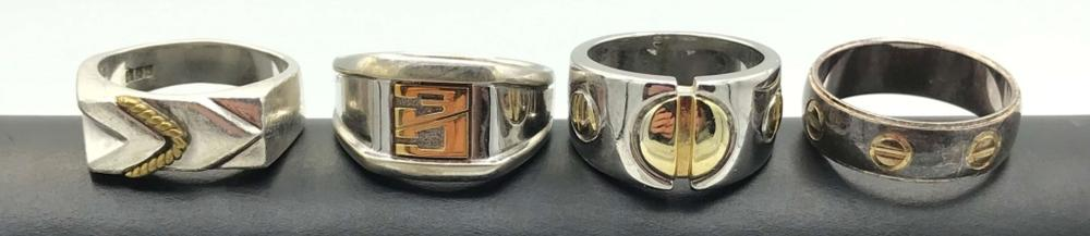 4 RINGS W GOLD TONE ACCENTS (2-STERLING)