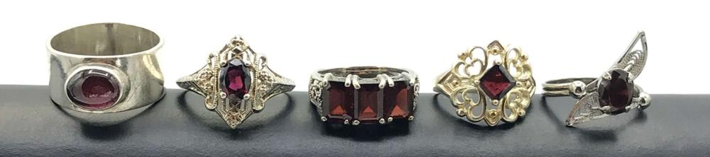 5 RED STONE RINGS STERLING