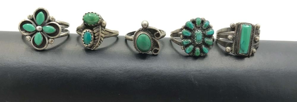 5 GREEN TURQUOISE RINGS STERLING