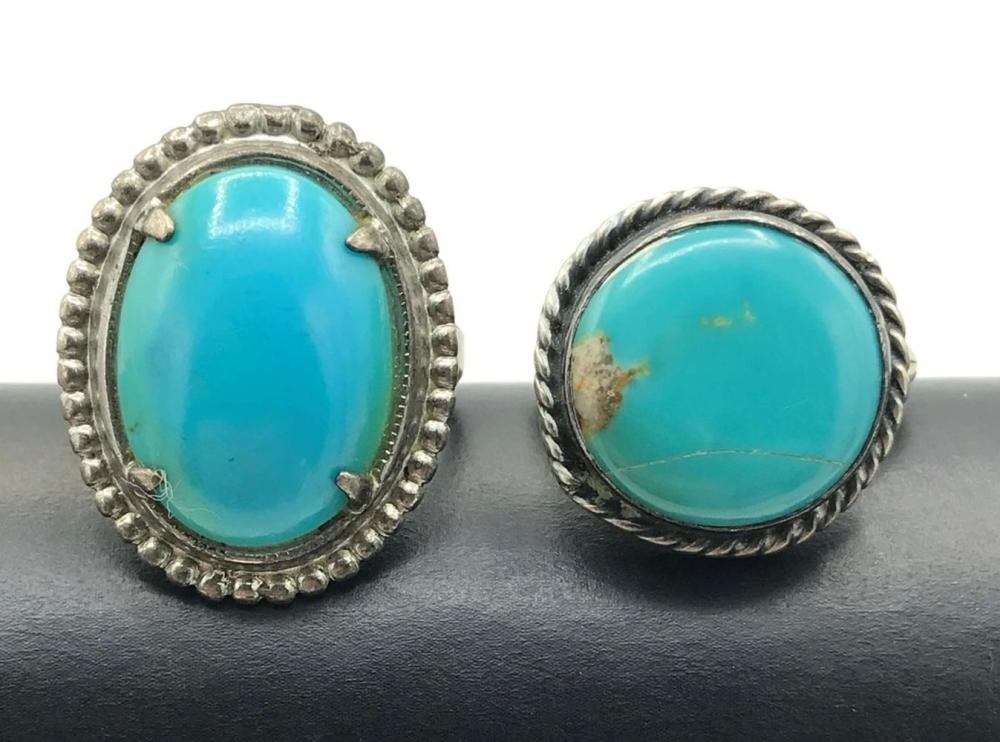 2 RINGS W TURQUOISE STONES SIZE 5