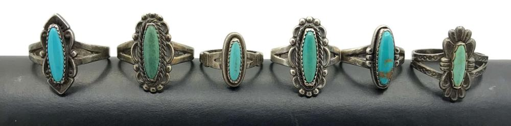 6 TURQUOISE RINGS OVAL SHAPE STERLING