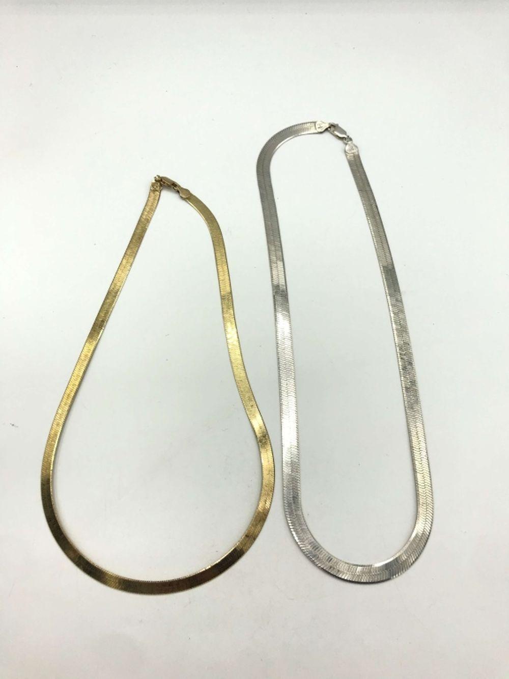 2 HERRINGBONE NECKLACES STERLING