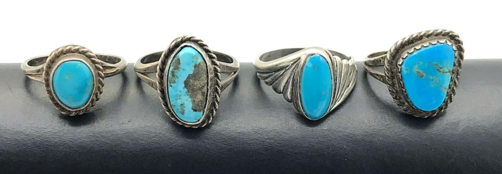 4 STERLING TURQUOISE RINGS
