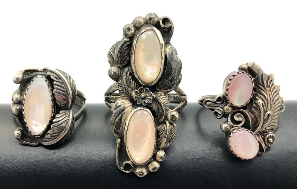 3 NAVAJO RINGS W PINK MOTHER OF PEARL