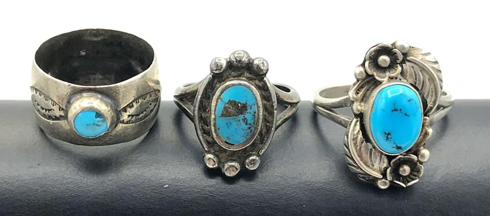3 NAVAJO RINGS WITH TURQUOISE STONES