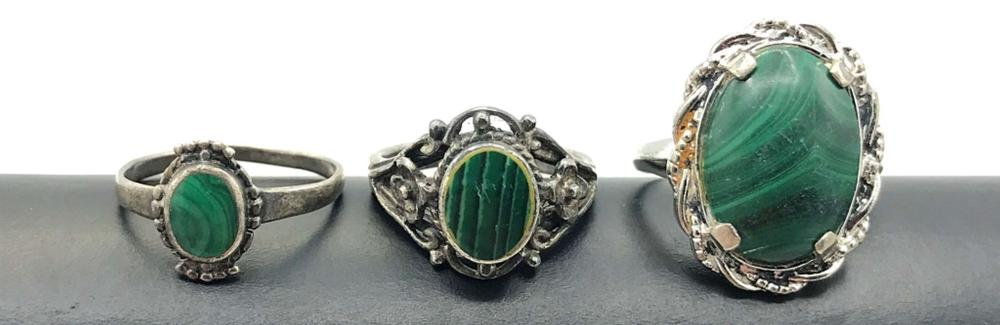 3 RINGS WITH MALACHITE STONES SIZE 5 & 6