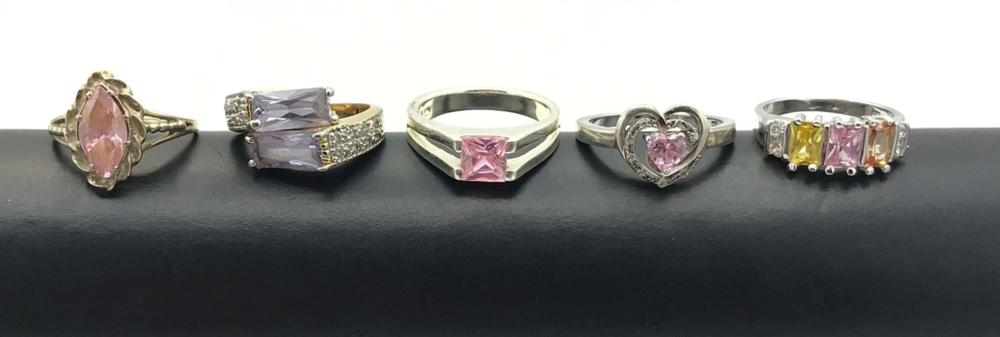 5 STERLING RINGS W PINK STONES SHINY!