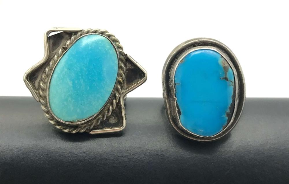 2 RINGS WITH LARGE TURQUOISE STONES