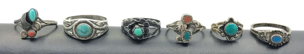 6 RINGS WITH SMALL TURQUOISE STONES