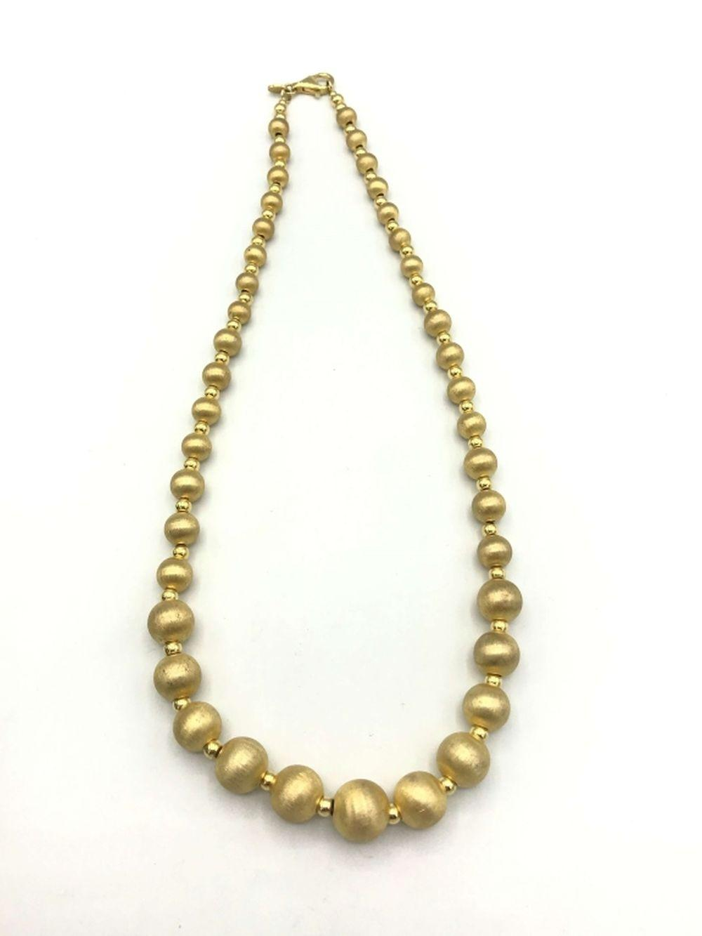 .925 NECKLACE W GOLDEN BEADED STRAND